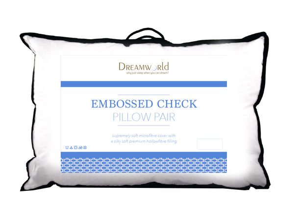 Dream World Embossed Check Luxury Spiral Fibre Pillow Pair