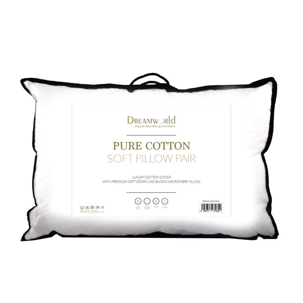 Dream World Pure Cotton Soft Pillow Pair