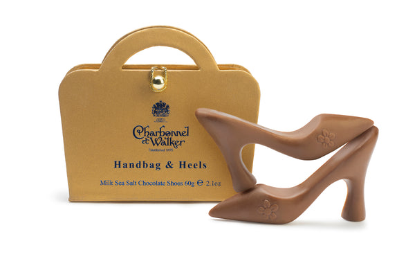 GOLD HANDBAG & MILK SEA SALT CARAMEL CHOCOLATE HEELS 60G