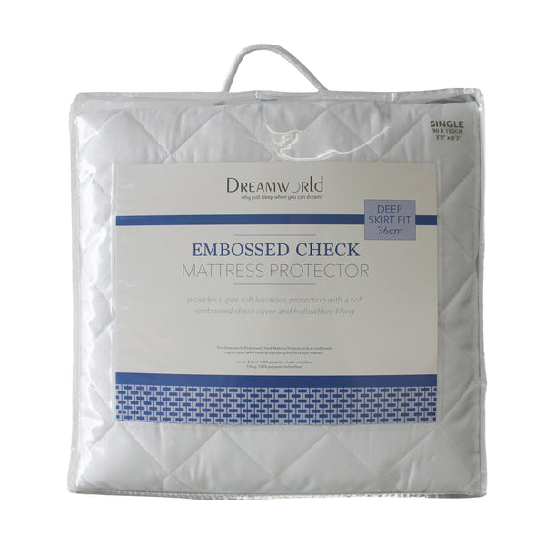 Dream World Embossed Check Luxury Mattress Protector