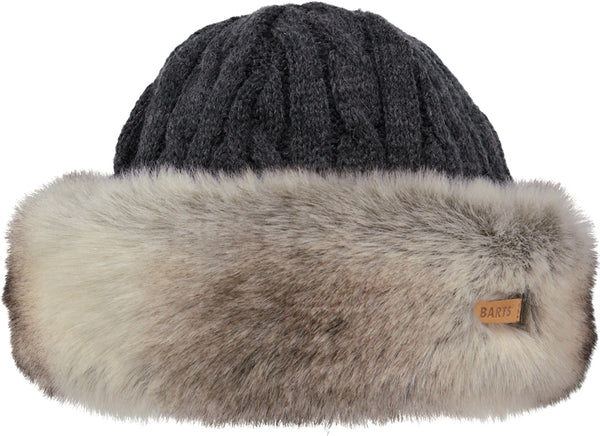 HEATHER BROWN FUR CABLE BAND HAT