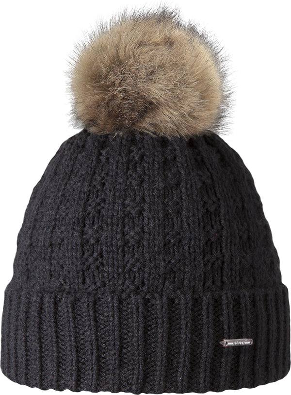 Barts Accessories Black Fur Pom Beanie