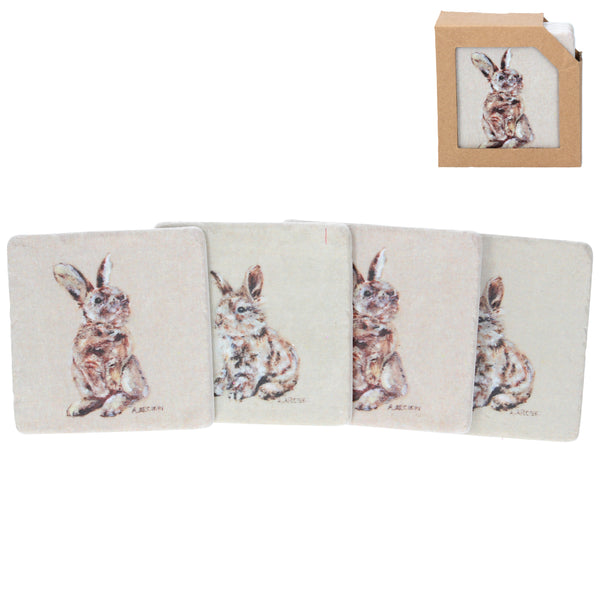 RESIN BUNNY COASTER 4-PACK
