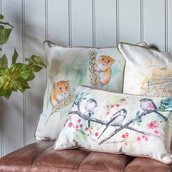 WATERCOLOUR HARVEST MOUSE CUSHION