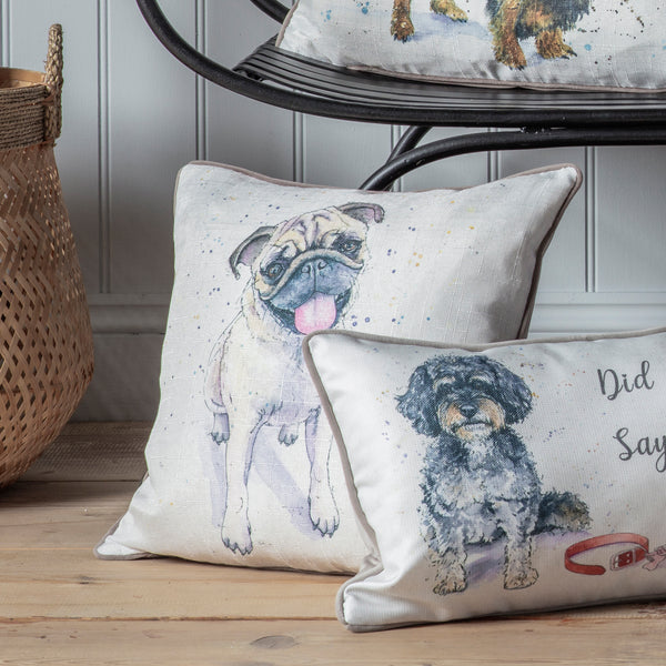 WATERCOLOUR PUG CUSHION