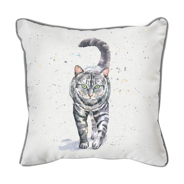 WATERCOLOUR TABBY CAT CUSHION