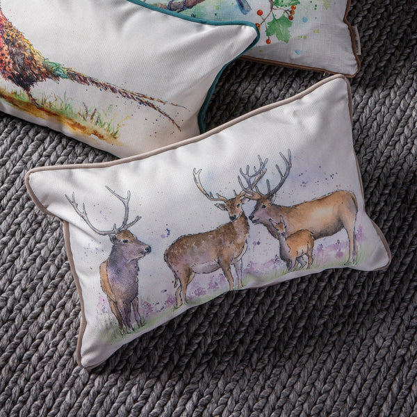 WATERCOLOUR STAGS CUSHION