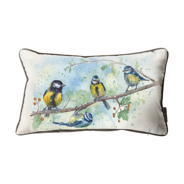 WATERCOLOUR BLUE TITS CUSHION