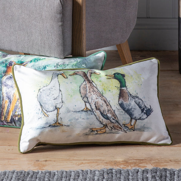 WATERCOLOUR DUCKS CUSHION