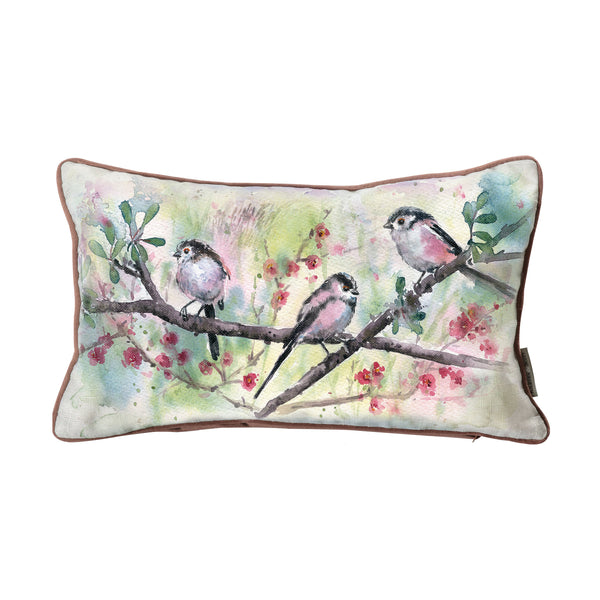 WATERCOLOUR LONG TAILED BLUE TITS CUSHION