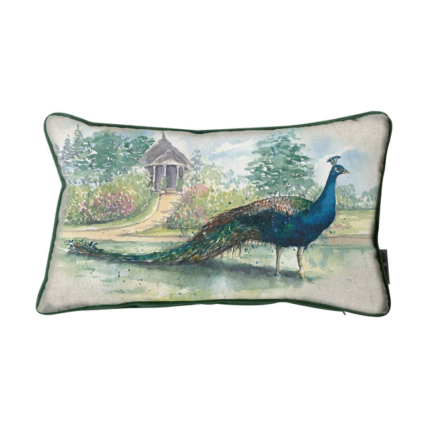 WATERCOLOUR PEACOCK CUSHION