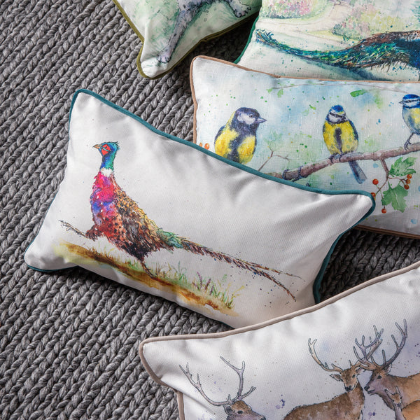 WATERCOLOUR PHEASANT CUSHION