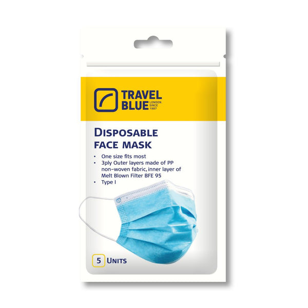 Travel Blue Disposable Face Masks - Pack Of 5