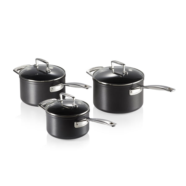 TOUGHENED NON STICK 3 PIECE SAUCEPAN SET