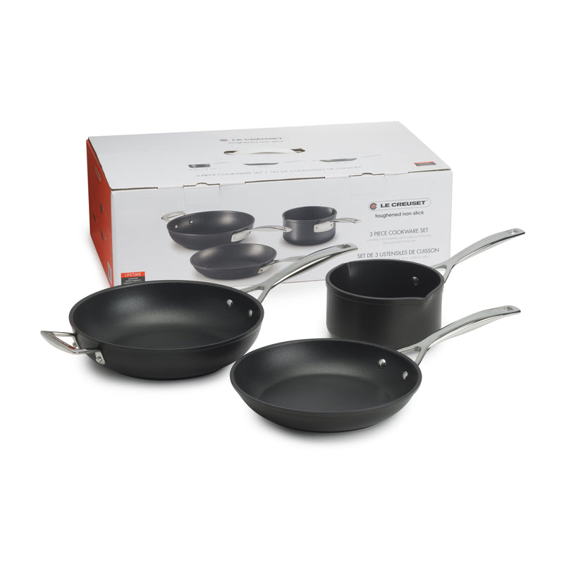 TOUGHENED NON STICK 3 PIECE COOKWARE SET