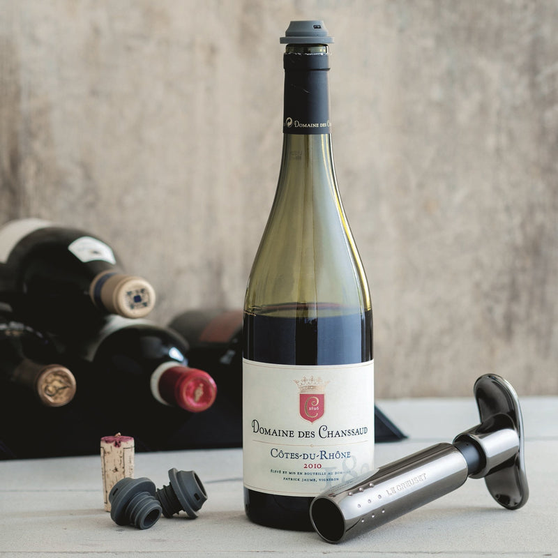 WA137 WINE PUMP WITH 3 STOPPERS BLACK NICKEL