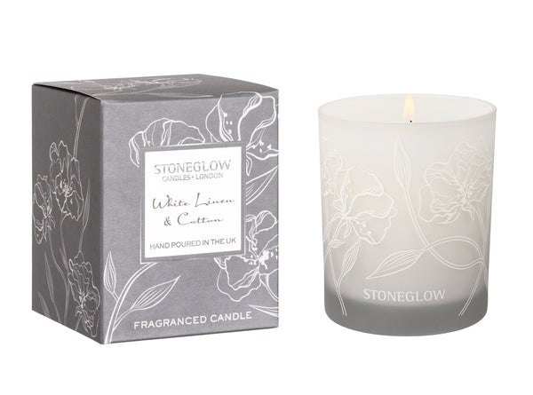Stoneglow Day Flower White Linen & Cotton Candle
