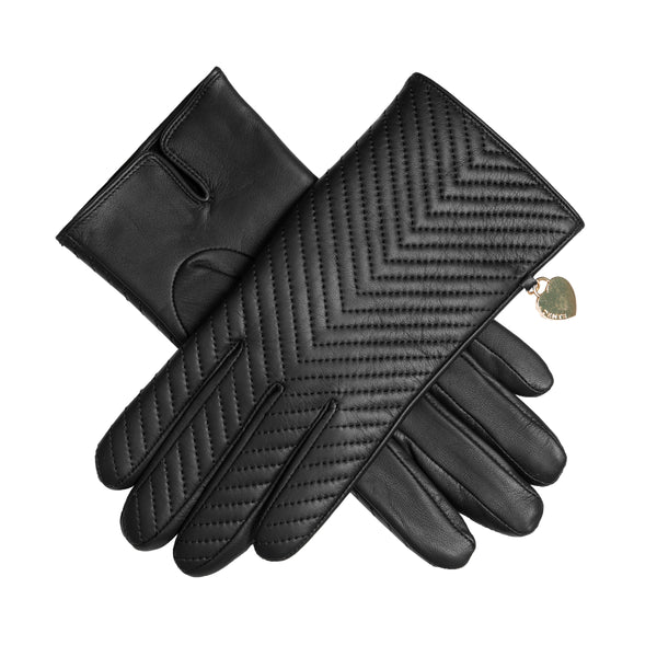 Touchscreen Quilted Leather Gloves with Heart Pendant