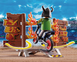 Playmobil Stunt Show Motocross With Fiery Wall