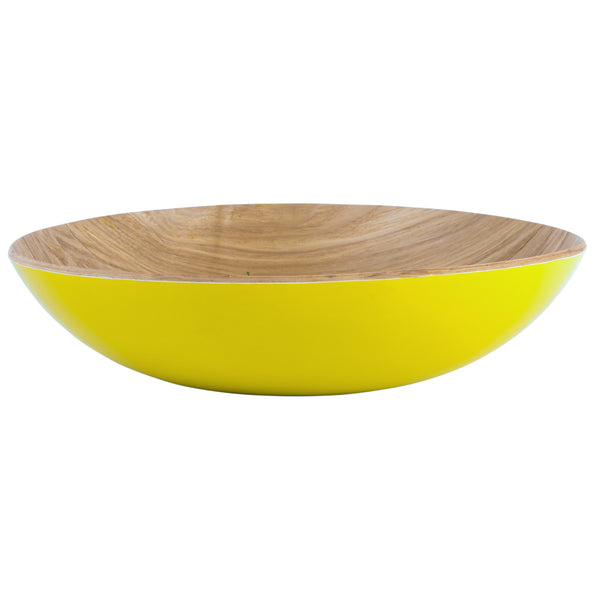 Navigate Willow Wood Fruit Bowl In Mustard