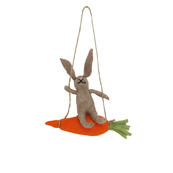 BROWN BUNNY ON CARROT DECORATION