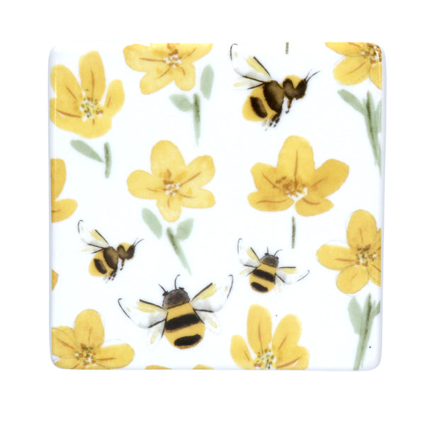 CERAMIC BUTTERCUPS & BEES COASTER