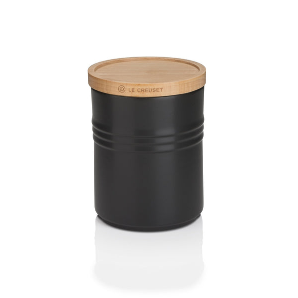 STORAGE JAR WITH WOODEN LID MEDIUM