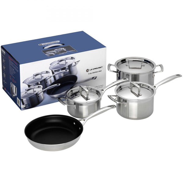Le Creuset 3Ply Stainless Steel 4 Piece Set