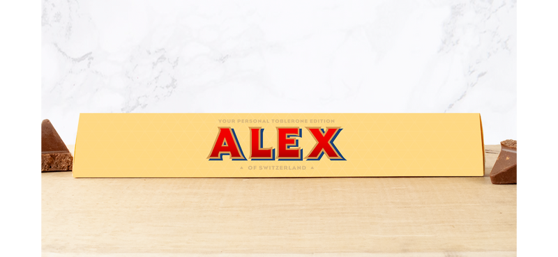 ALEX PERSONALISED TOBLERONE BAR 100G