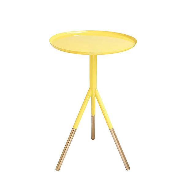 YELLOW TRIPOD TABLE WITH BRASS FEET