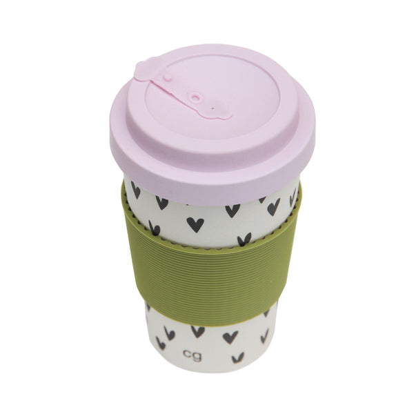 Scattered Hearts Bamboo Coffee Cup