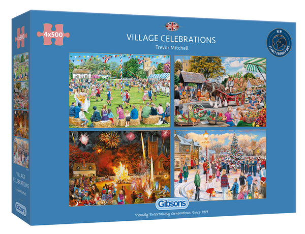 Gibsons 4 X 500 Piece Village Celebrations