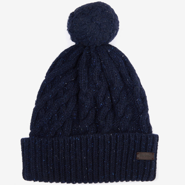 SEATON POM WOOL BLEND NAVY BEANIE