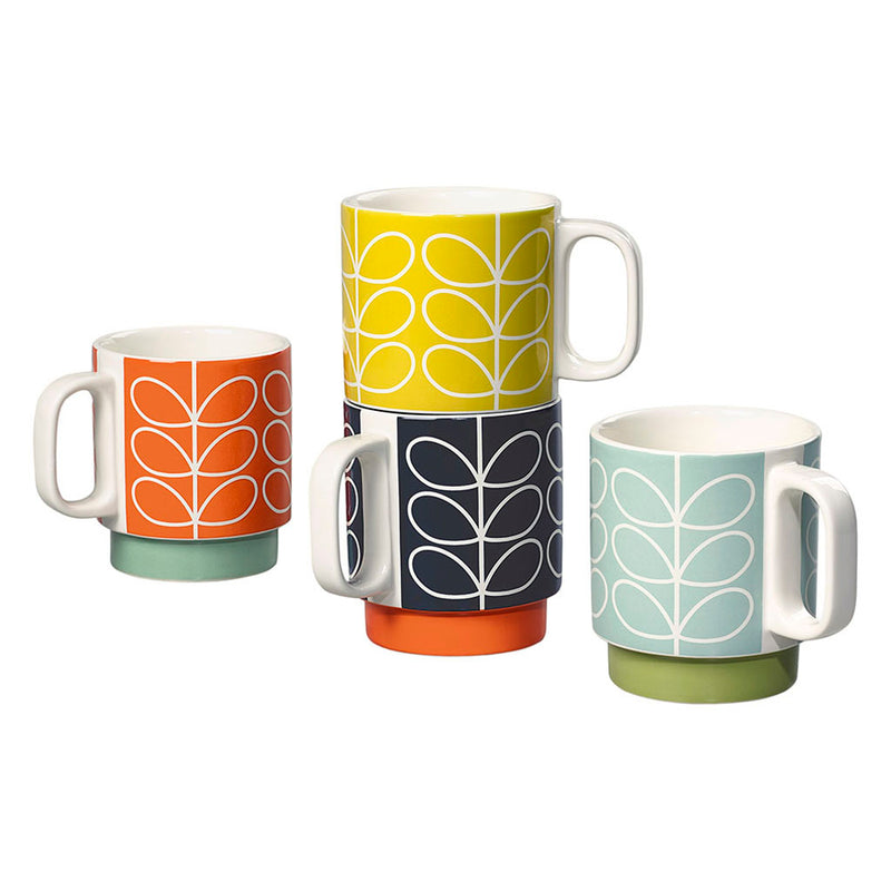 Orla Kiely Stacking Mug Linear Stem, Set Of 4