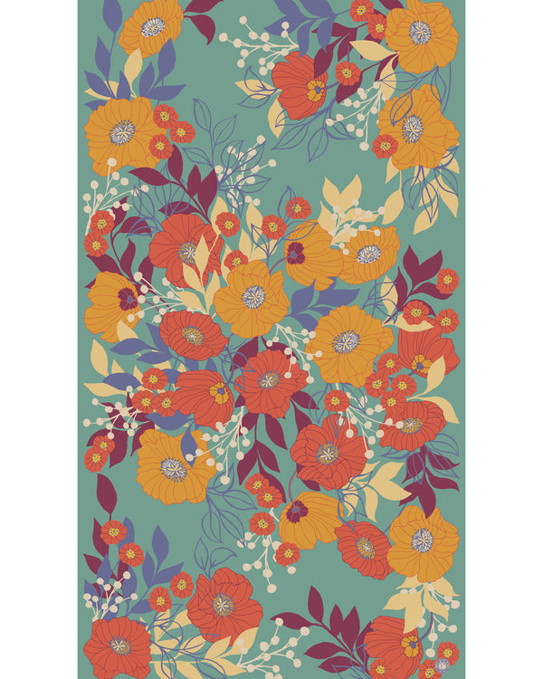 Powder Autumn Floral Print Scarf