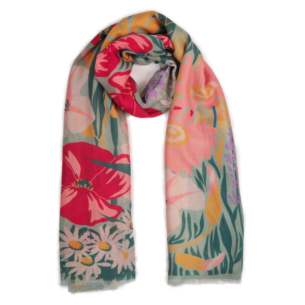 MINT COUNTRY GARDEN PRINT SCARF
