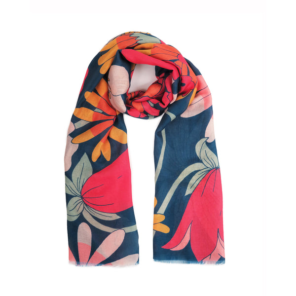TEAL RETRO MEADOW PRINT SCARF