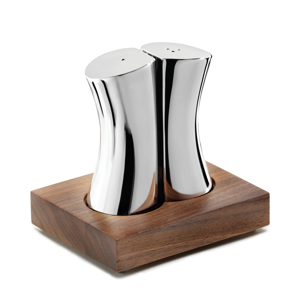 DRIFT SALT & PEPPER SHAKERS WITH WALNUT BASE