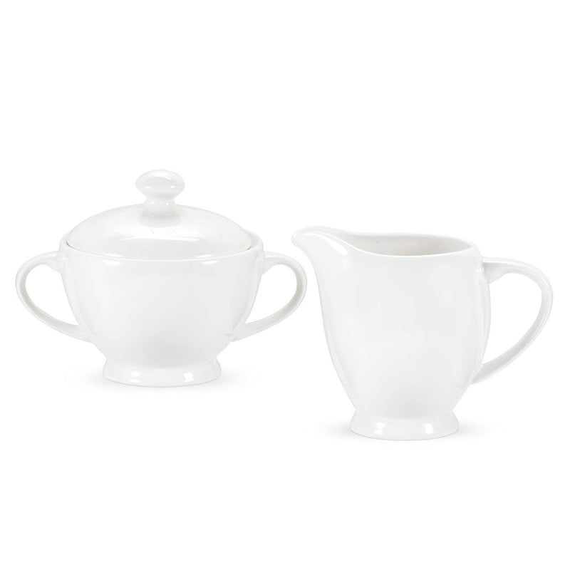 SERENDIPITY WHITE SUGAR BOWL AND CREAMER