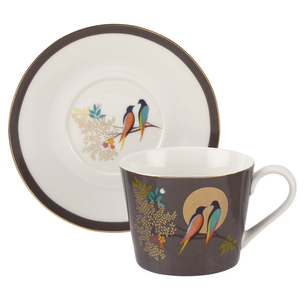 TEACUP AND SAUCER DARK GREY