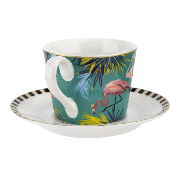TAHITI TEACUP & SAUCER FLAMINGO