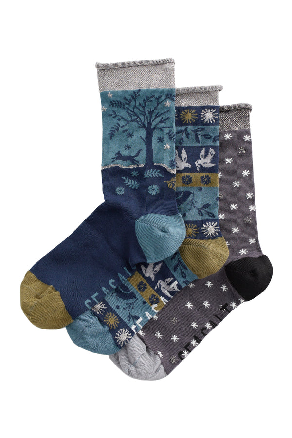 SNOWY SCENES BOX OF 3 SOCKS