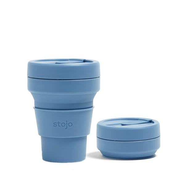 COLLAPSIBLE STEEL BLUE POCKET CUP 355ML