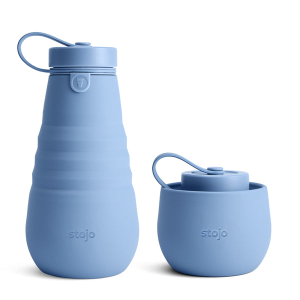 COLLAPSIBLE STEEL BLUE WATER BOTTLE 590ML