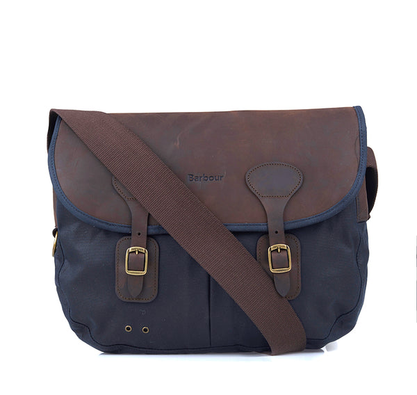 NAVY WAX LEATHER TARRAS BAG