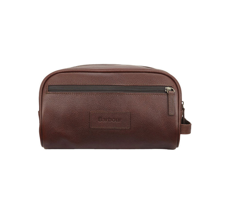 COMPACT BROWN LEATHER WASHBAG