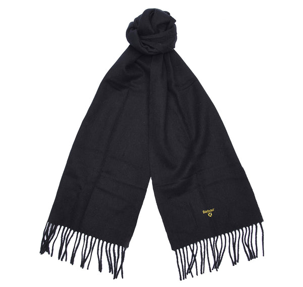 PLAIN BLACK LAMBS WOOL SCARF
