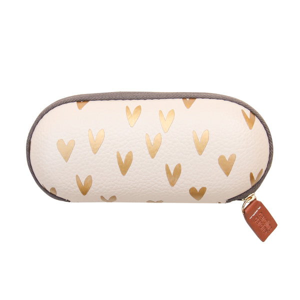 METALLIC HEARTS GLASSES CASE
