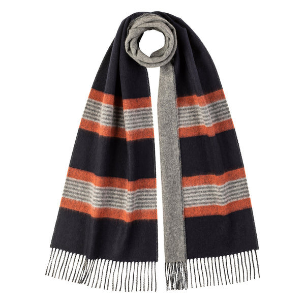 Johnstons Of Elgin Reversible Stripe Cashmere Scarf