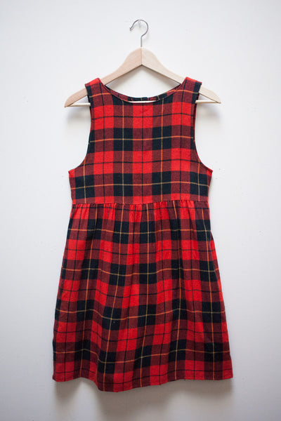 Red Wool Plaid Pinafore
